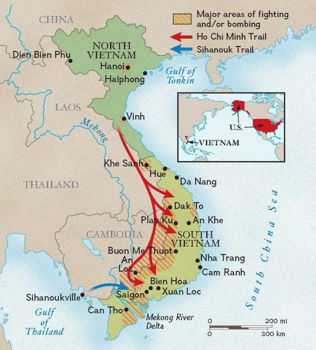 Vietnam war map from nationalgeographic 1