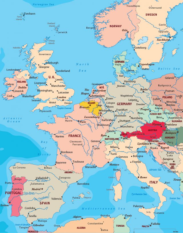 Western europe map from geographicguide 1