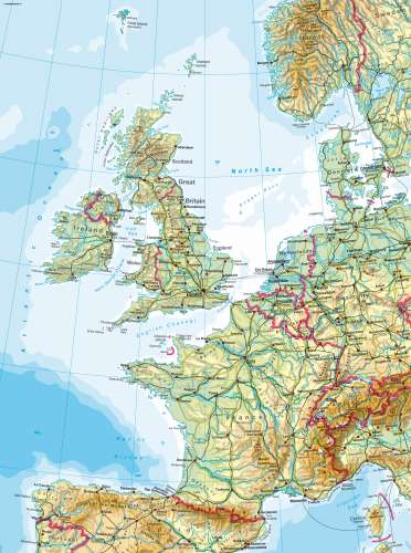 Western europe physical map from diercke 1