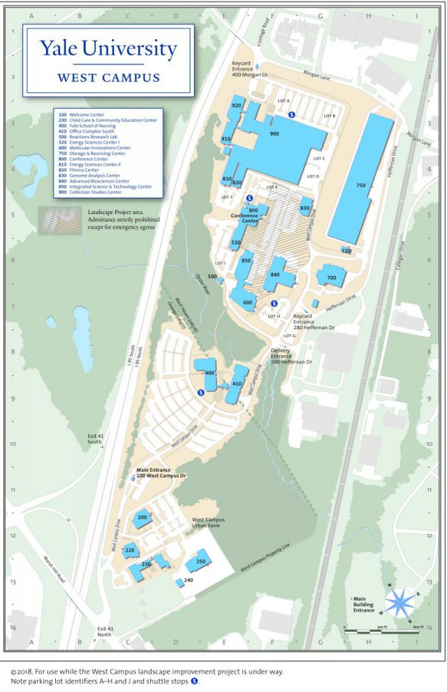 Yale university map from westcampus 2