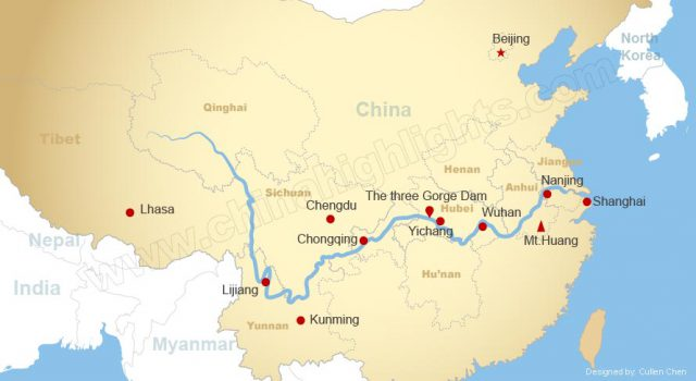 Yangtze river map from chinahighlights 1