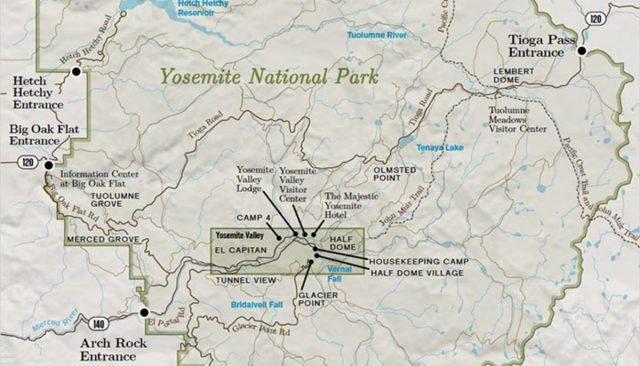 Yosemite Tourist Map