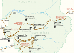 Yosemite Tourist Map: Yosemite tourist map from nps 1