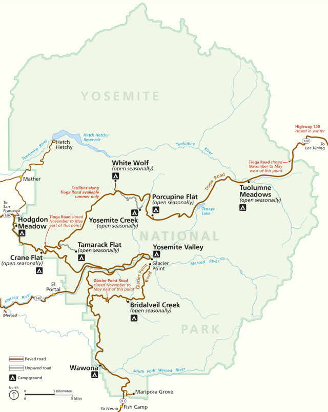 Yosemite tourist map from nps 1