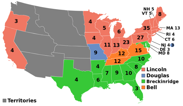 Abraham lincoln election map from en 1