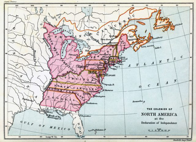 American colonies map from history 1