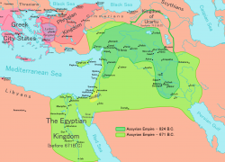 Assyrian Empire Map: Assyrian empire map from en 1