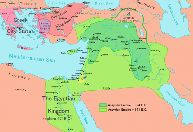 Assyrian empire map from en 1