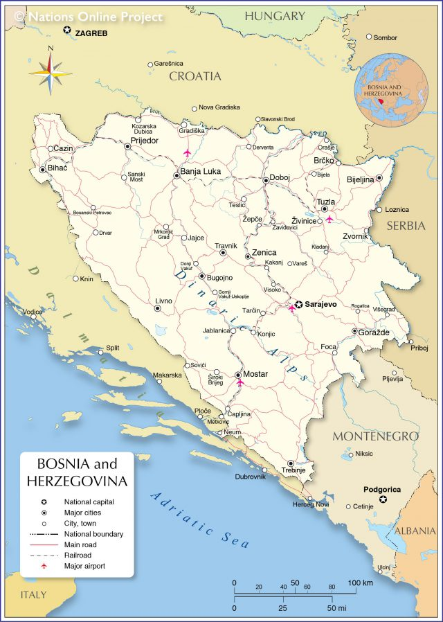 Bosnia and herzegovina map from nationsonline 1