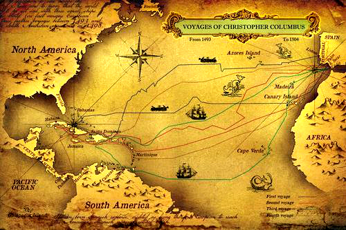 Christopher Columbus Map Of Exploration