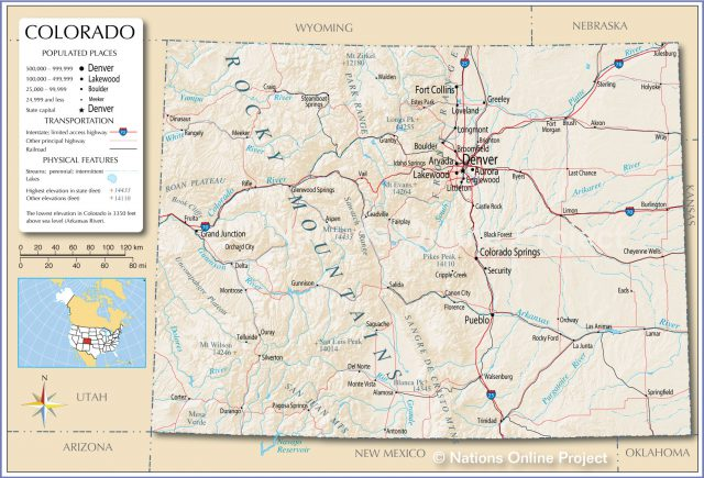 Colorado map from nationsonline 1