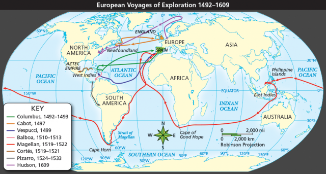 European Exploration Map