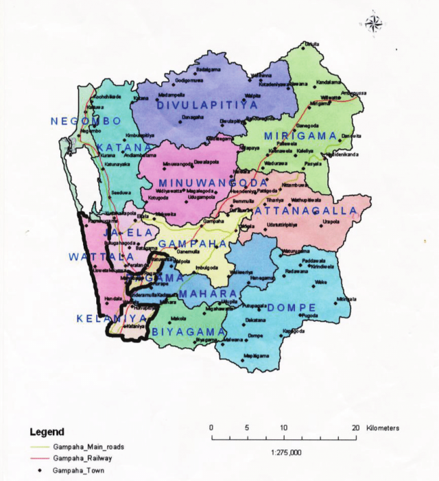 Gampaha district map from researchgate 1