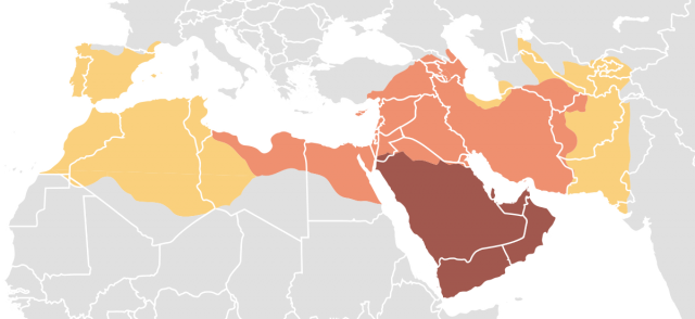 Islamic caliphates map from en 1
