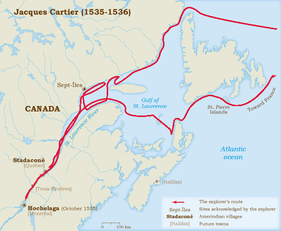 Jacques cartier route map from historymuseum 1