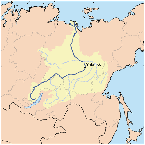 Lena river map from geologypage 1