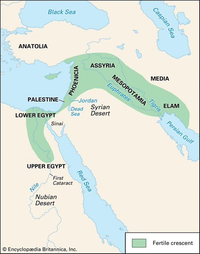 Map of the fertile crescent from britannica 2