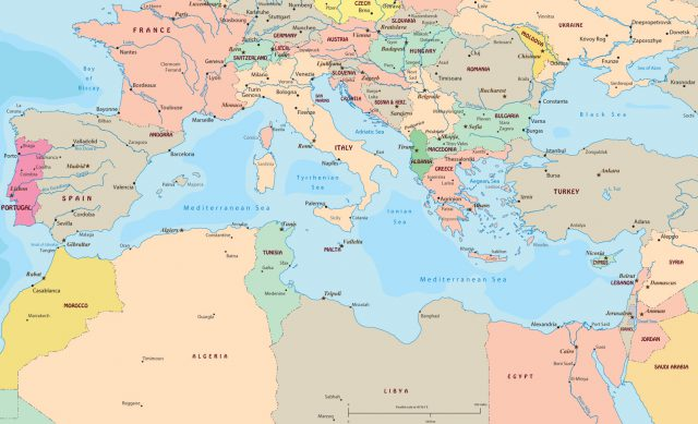 Mediterranean sea on a map from geographicguide 2