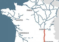 Rhone River Map: Rhone river map from french waterways 2