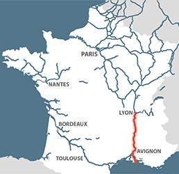Rhone river map from french waterways 2