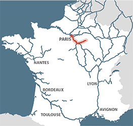 Seine river on map from french waterways 1