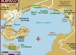 Acapulco Map: Acapulco map from lonelyplanet 1