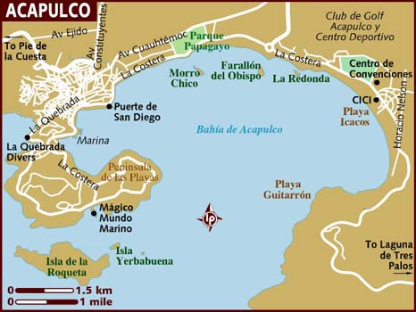 Acapulco map from lonelyplanet 1