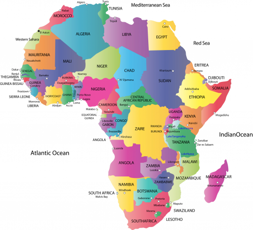 Africa map with capitals from pinterest 1