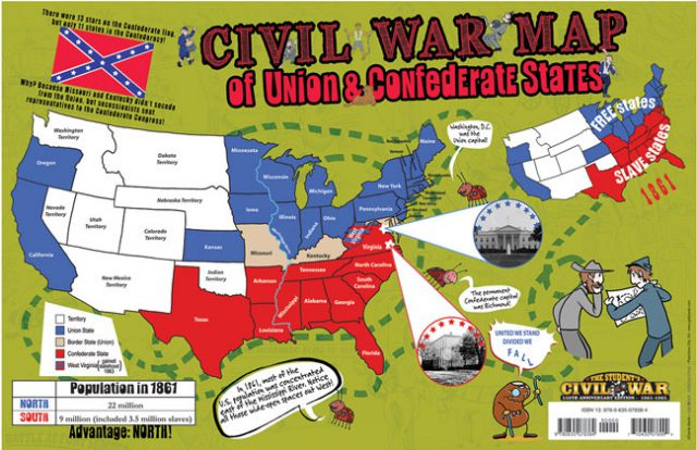Civil War Map Union And Confederate States