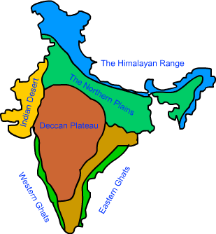 Deccan plateau map from in 1