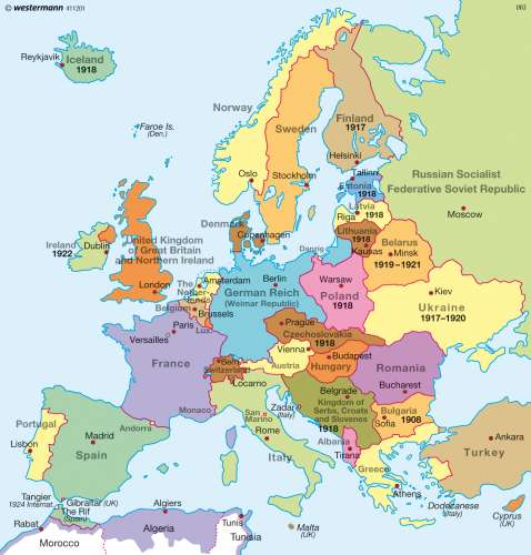 Map of europe after ww1 from diercke 1