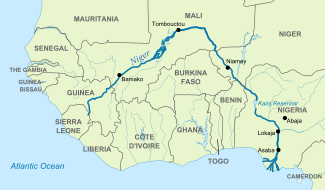 Niger river on africa map from en 1