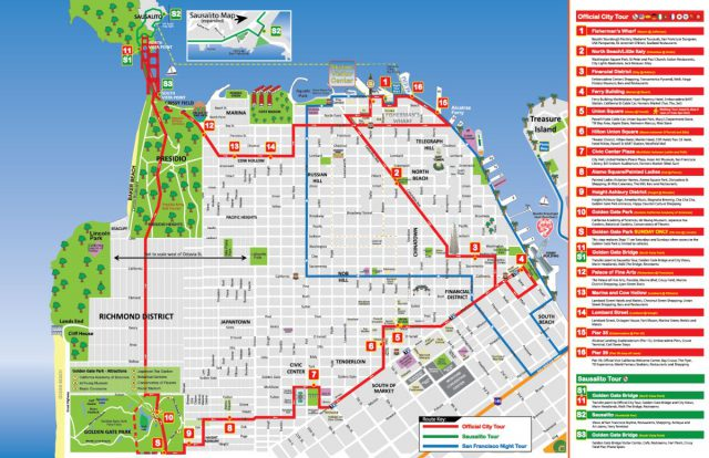 San francisco map from city sightseeing 2