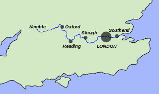 Thames river on map from en 1