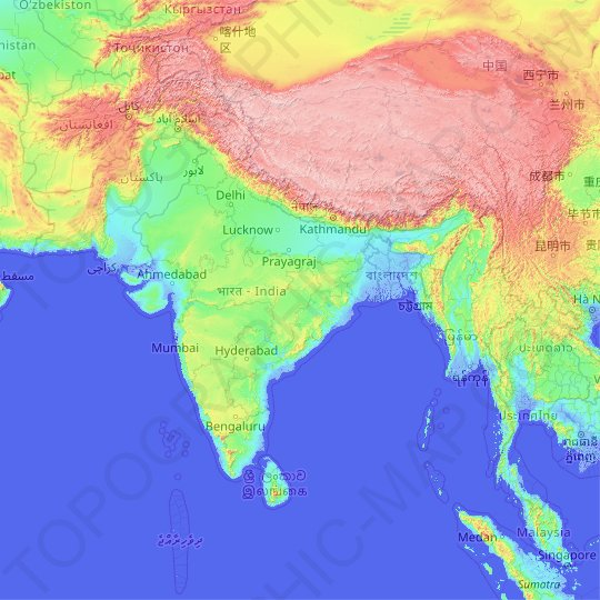 Topographic map of india from en gb 1