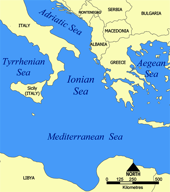 Tyrrhenian Sea Map