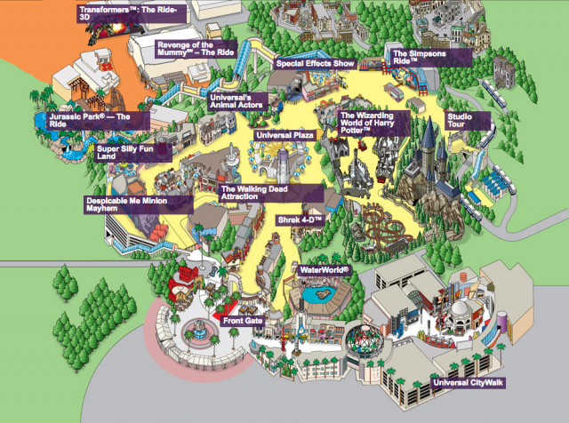 Universal studios hollywood map from pinterest 1