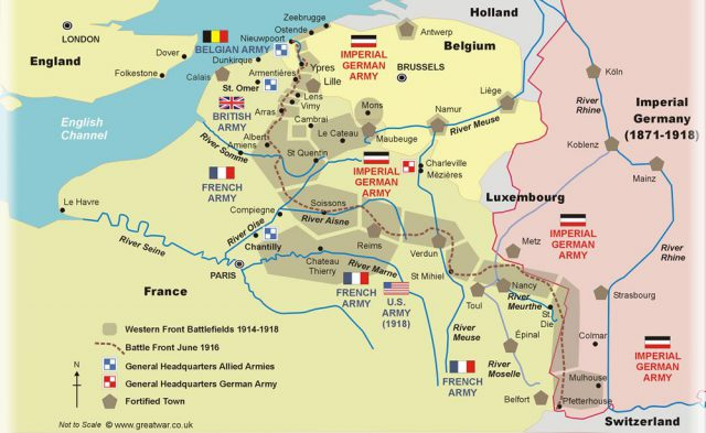 Western Front Ww1 Map