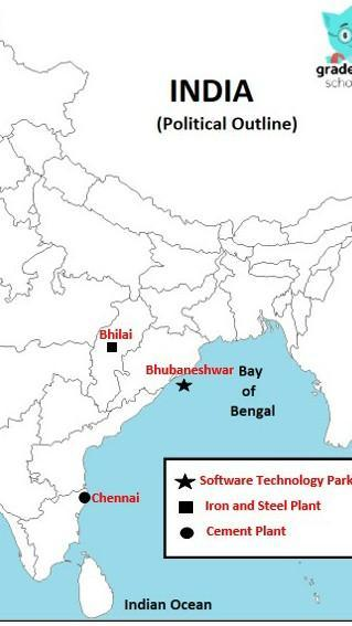 Bhilai iron and steel plant on map from brainly 1