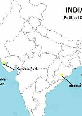 Hirakud dam on map from brainly 1