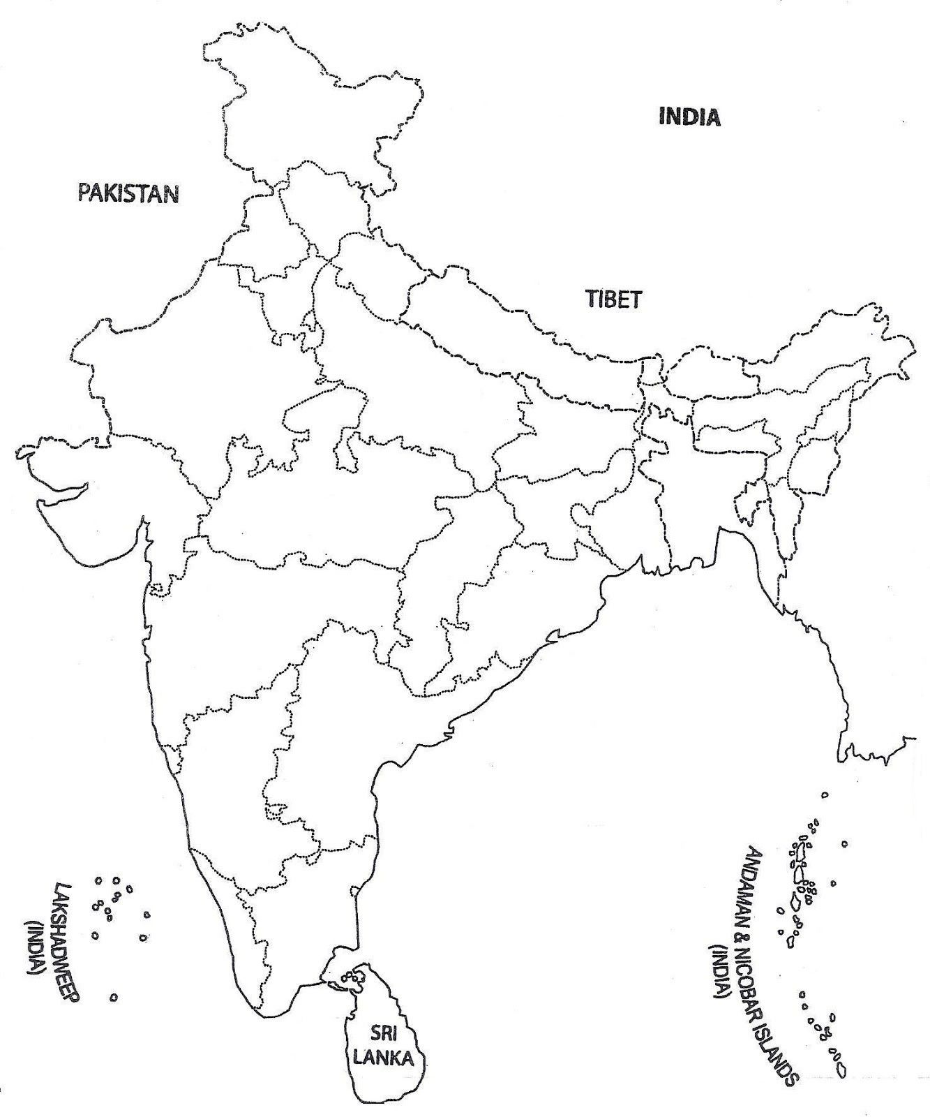 India Physical Map Blank From In 10