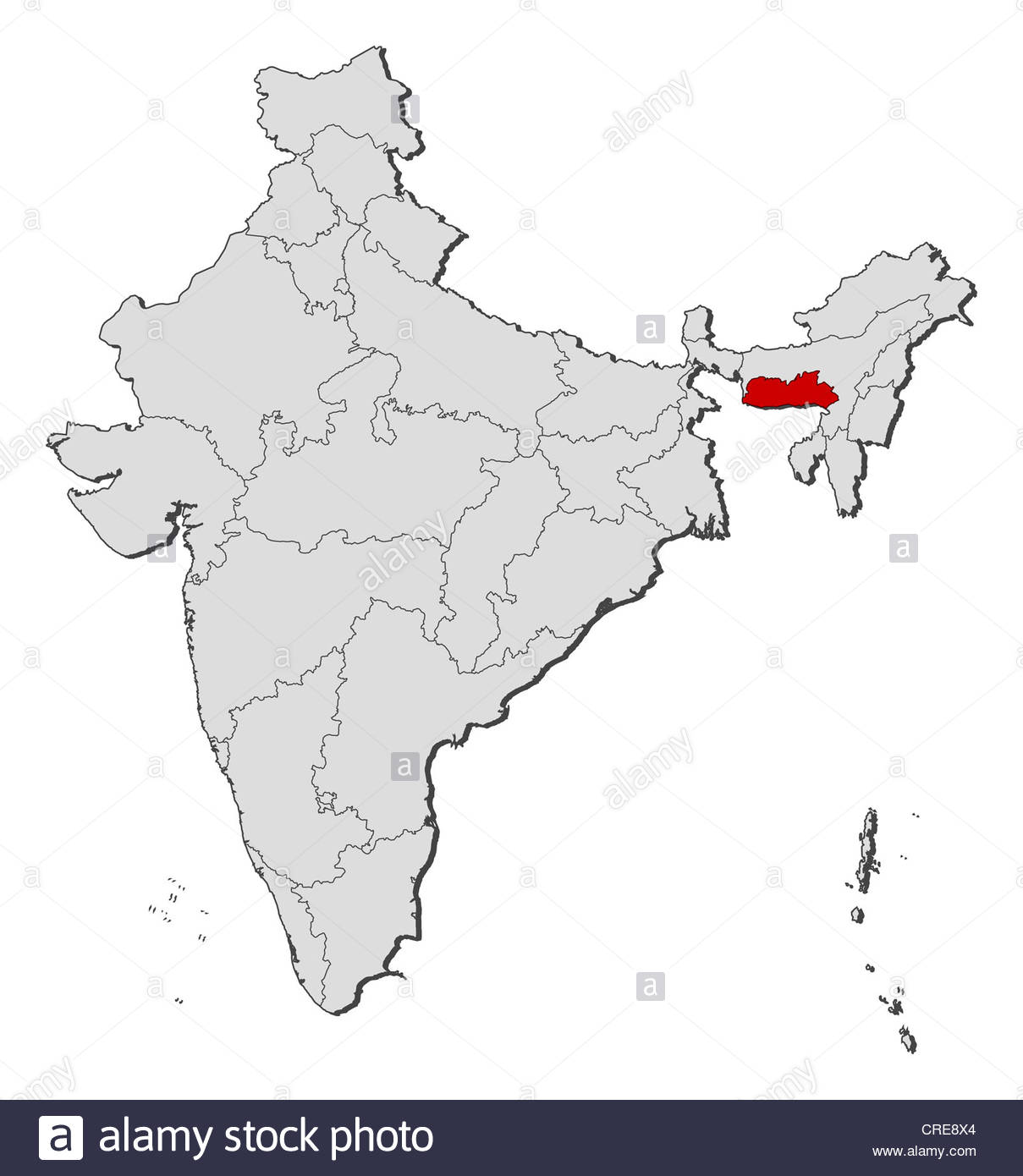 Meghalaya In India Map From Alamy 4