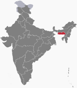 Meghalaya in india map from en 1