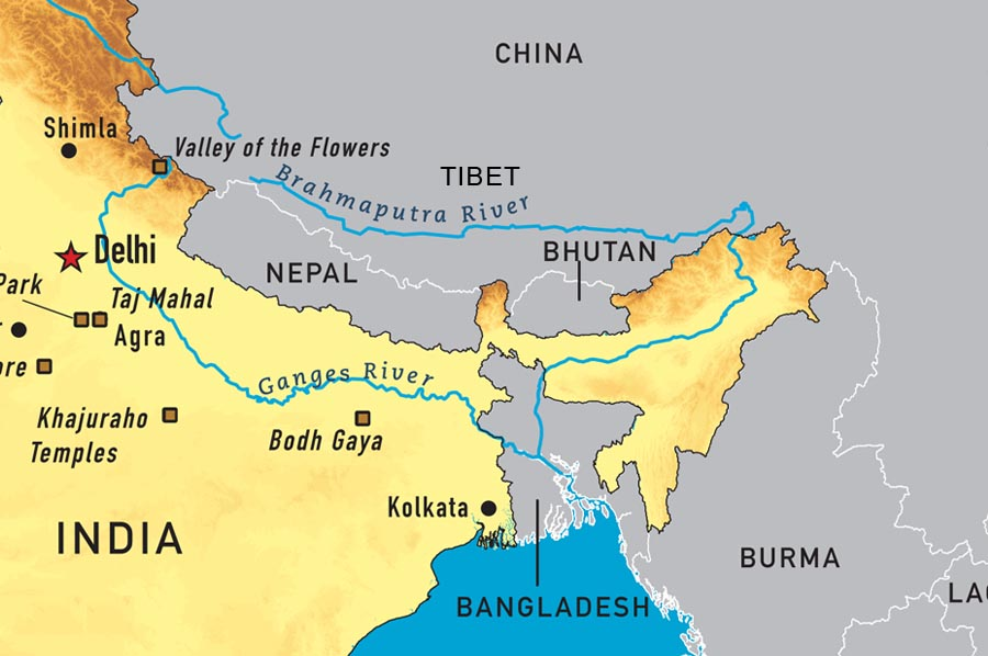 River Brahmaputra In India Map From Tibetsun 3