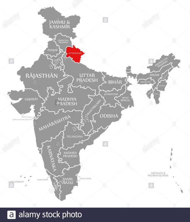Uttarakhand map from alamy 1