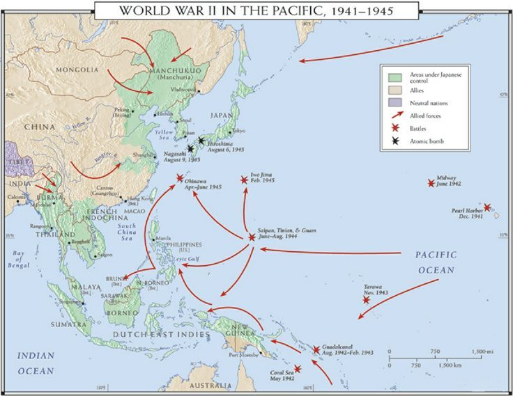 World War 2 In The Pacific Map From Pinterest 8