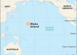Wake island on world map from britannica 1