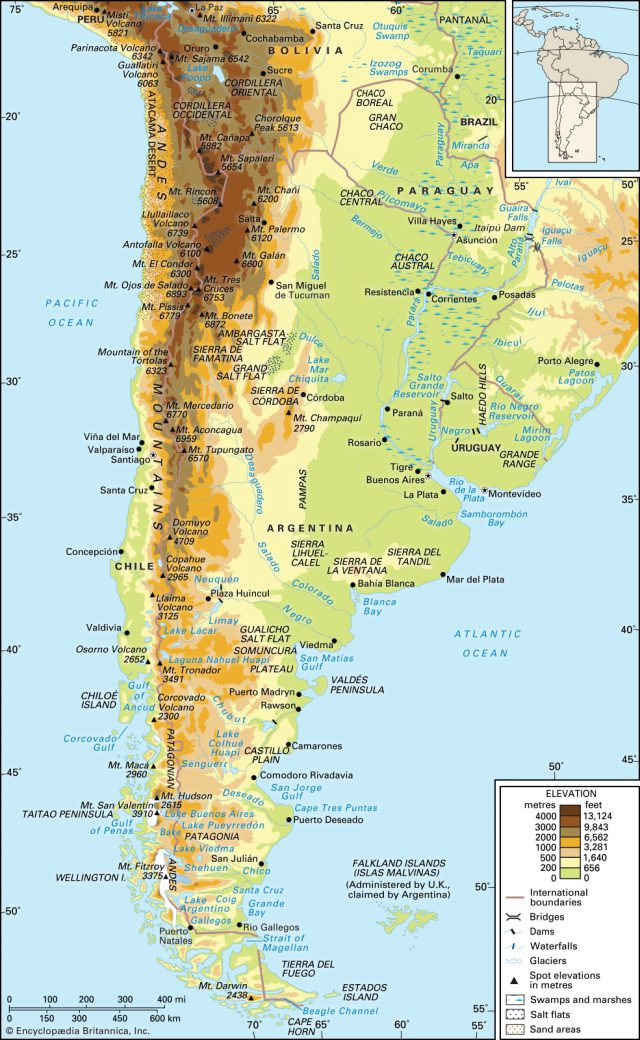 Andes mountains map from britannica 1
