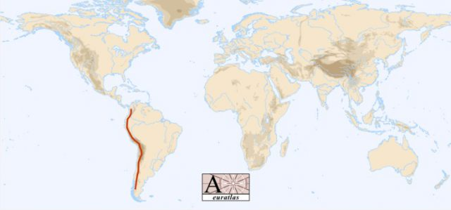 Andes Mountains On World Map