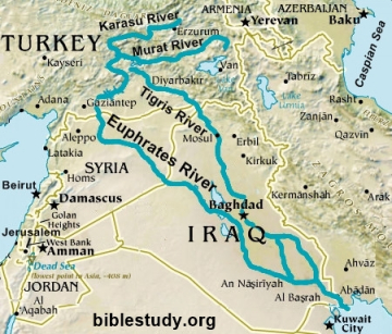 Euphrates river on world map from biblestudy 1